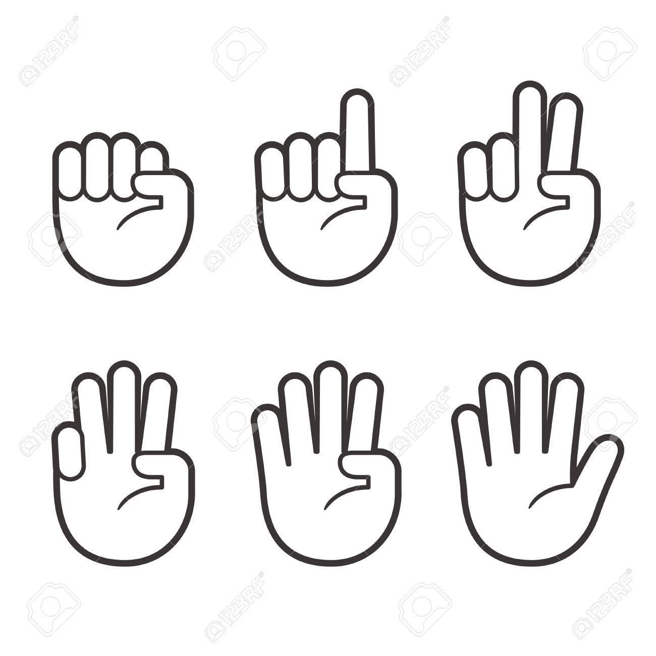 Hand icons with finger count. Hand gesture symbols, counting...