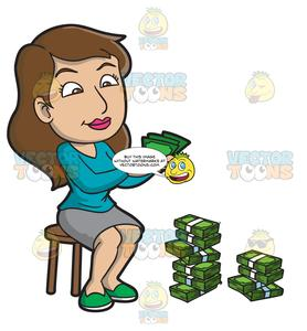 A Woman Counting Her Money.