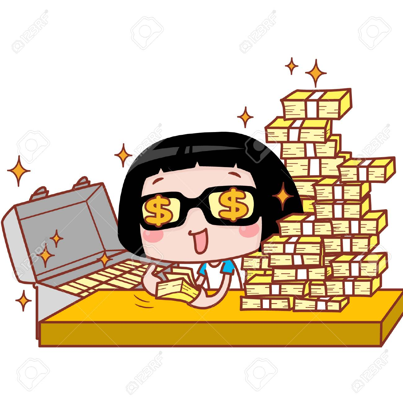 Cute cartoon girl counting money.