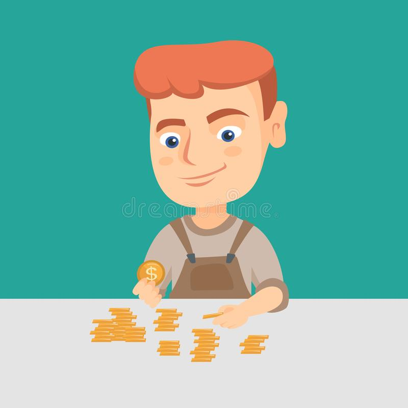 Boy Counting Money Stock Illustrations.
