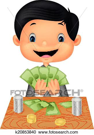 Cartoon boy counting the money Clipart.