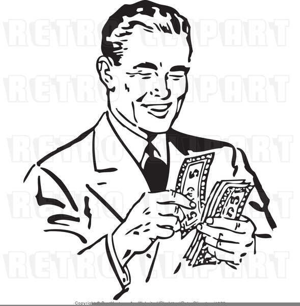 Man Counting Money Clipart.