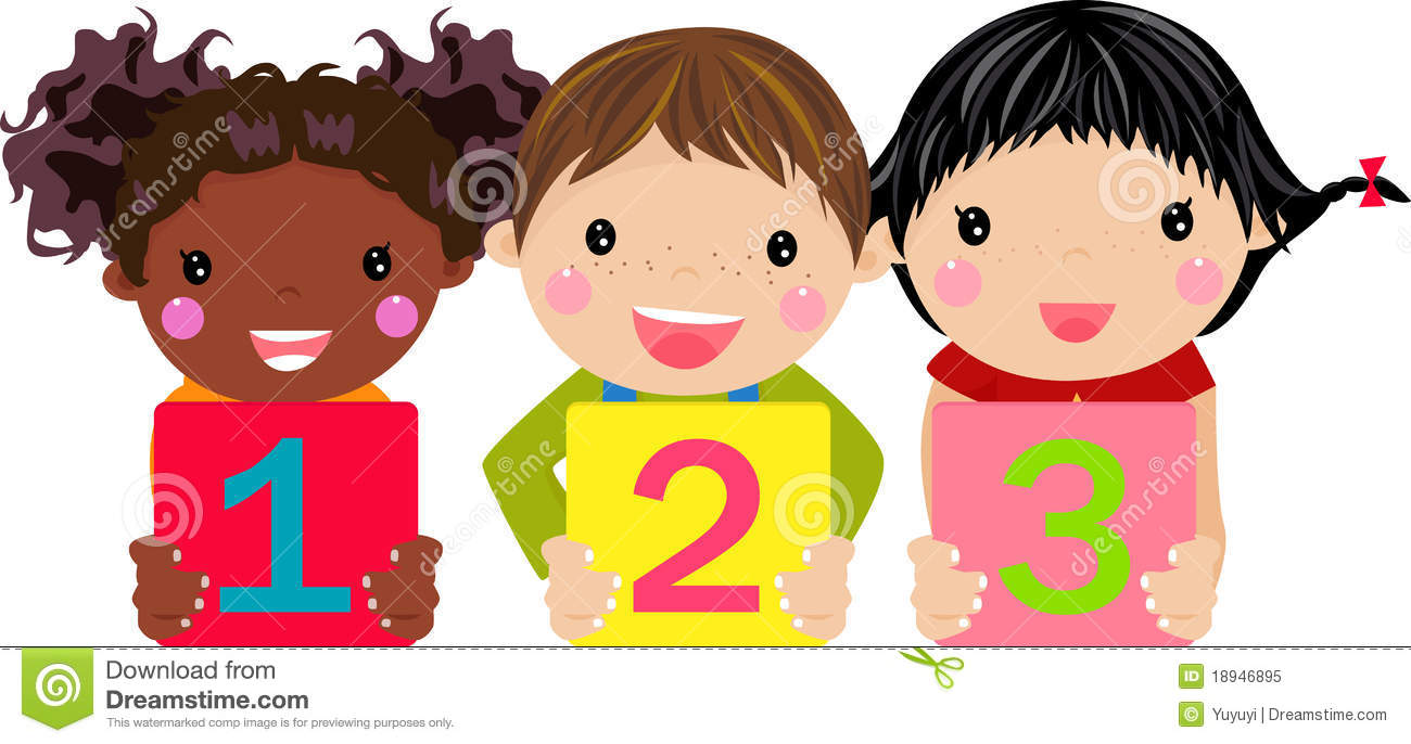 Kids With Numbers Clipart.