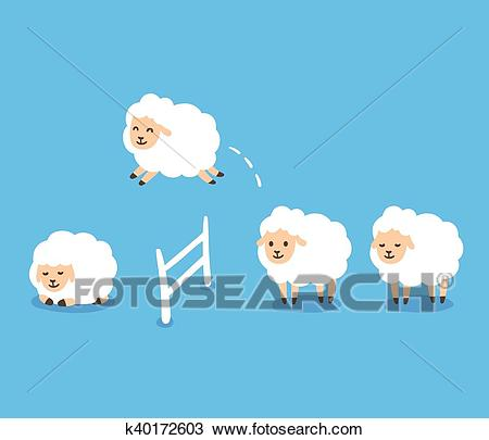 Counting Sheep illustration Clipart.
