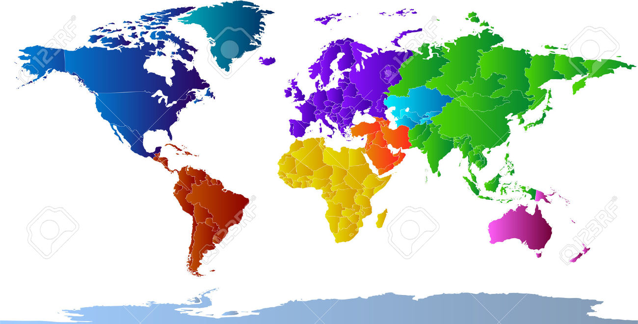 Clip art maps of countries.