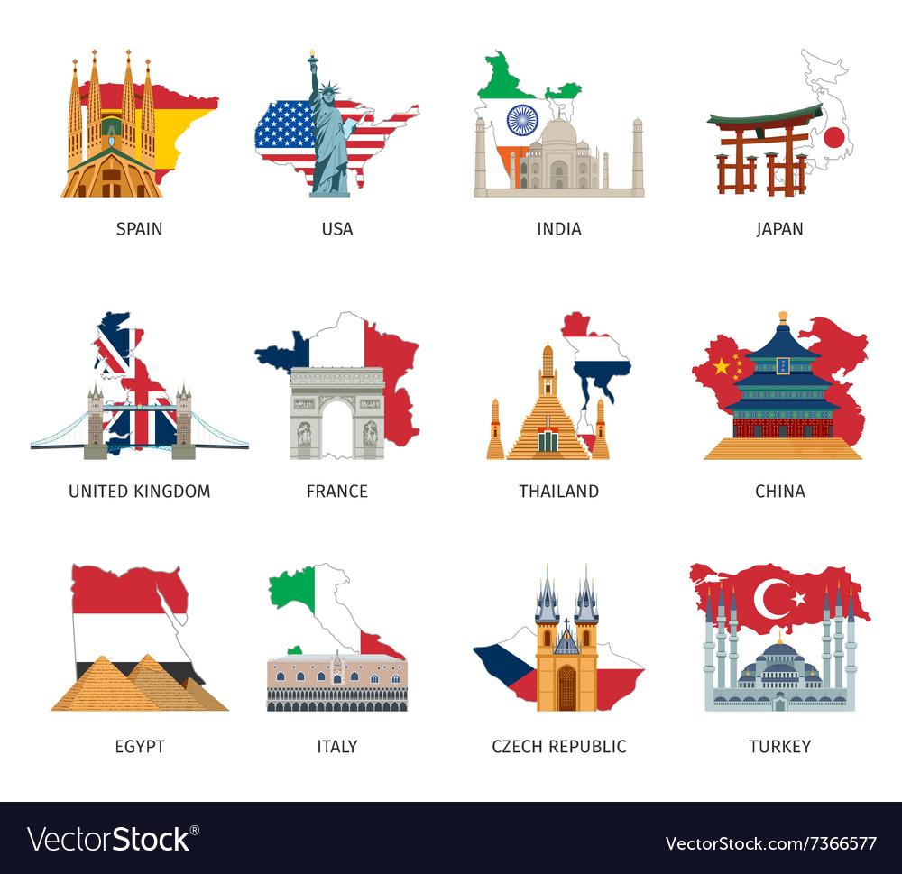 Countries Flags Landmarks Flat Icons Set.