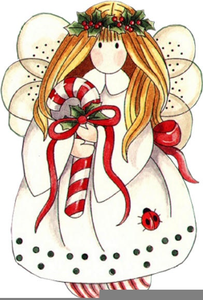 Country Christmas Angels Clipart.