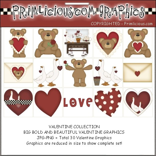 Valentines Day Teddy Bear Clipart Graphic Set.