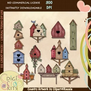 Birdhouse Collection 1 Country Clip Art : Country Clipart, P.