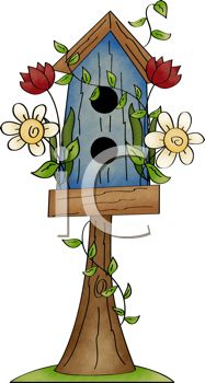 Rustic Birdhouse Perched on a Tree Stump.
