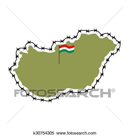 Map of Hungary. Country closes border against refugees. Map of States with  barbed wire. European country protects its borders. Hungarian Flag..