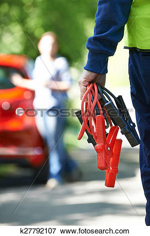 Picture of Mechanic Attending Car Breakdown On Country Road.
