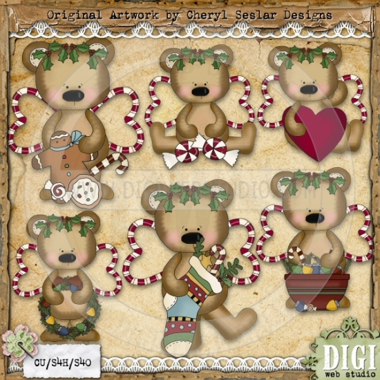 Christmas Angel Bears 1.