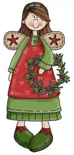 Country Christmas Angels Clip Art.