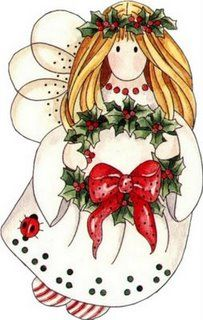 Country Christmas Angel Clipart.