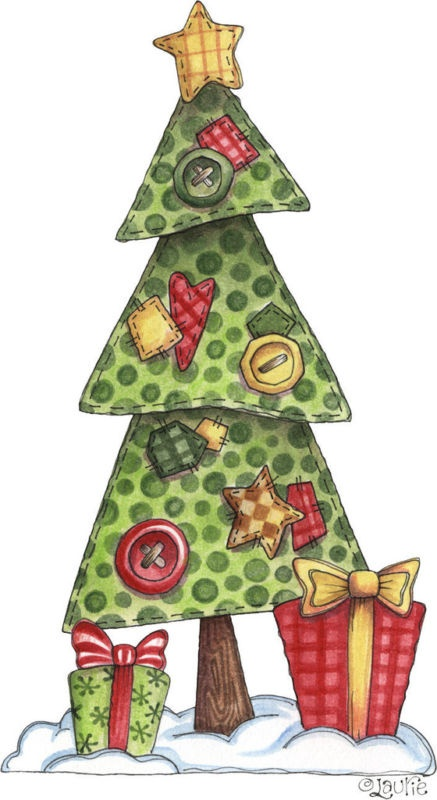 Country Christmas Tree Clipart.