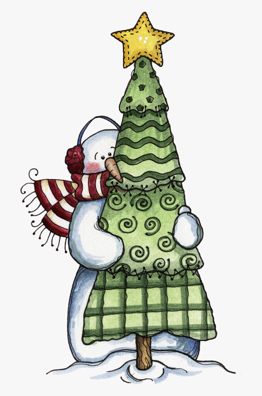 Snowman Hugging An Evergreen, For The Very Best Time.