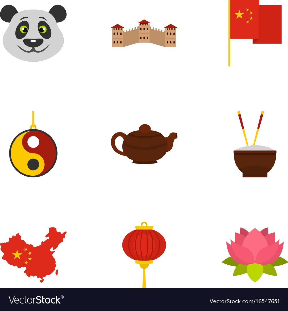 Country of china icon set flat style.