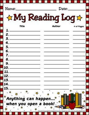 FREE Reading Log Templates From Country Cl #171450.