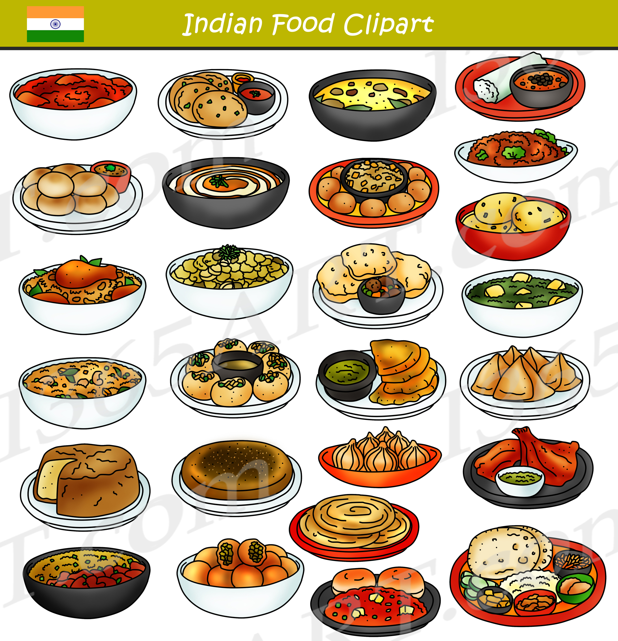 Indian Food Clipart Bundle Graphics.