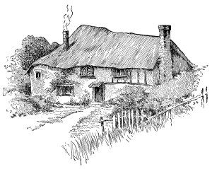 Victorian cottage clip art, country cottage illustration.