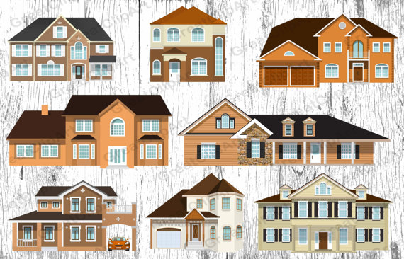 8 Houses clipart set house clipart country house by IstarArt.