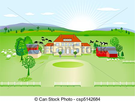Drawing of country estate csp5142684.