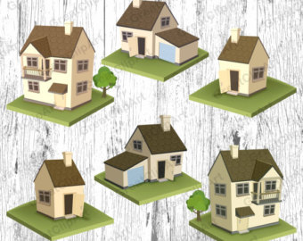 6 Houses Clipart Set House Country Villa Estate Townhouse Scrapbooking Clipartrent Clip