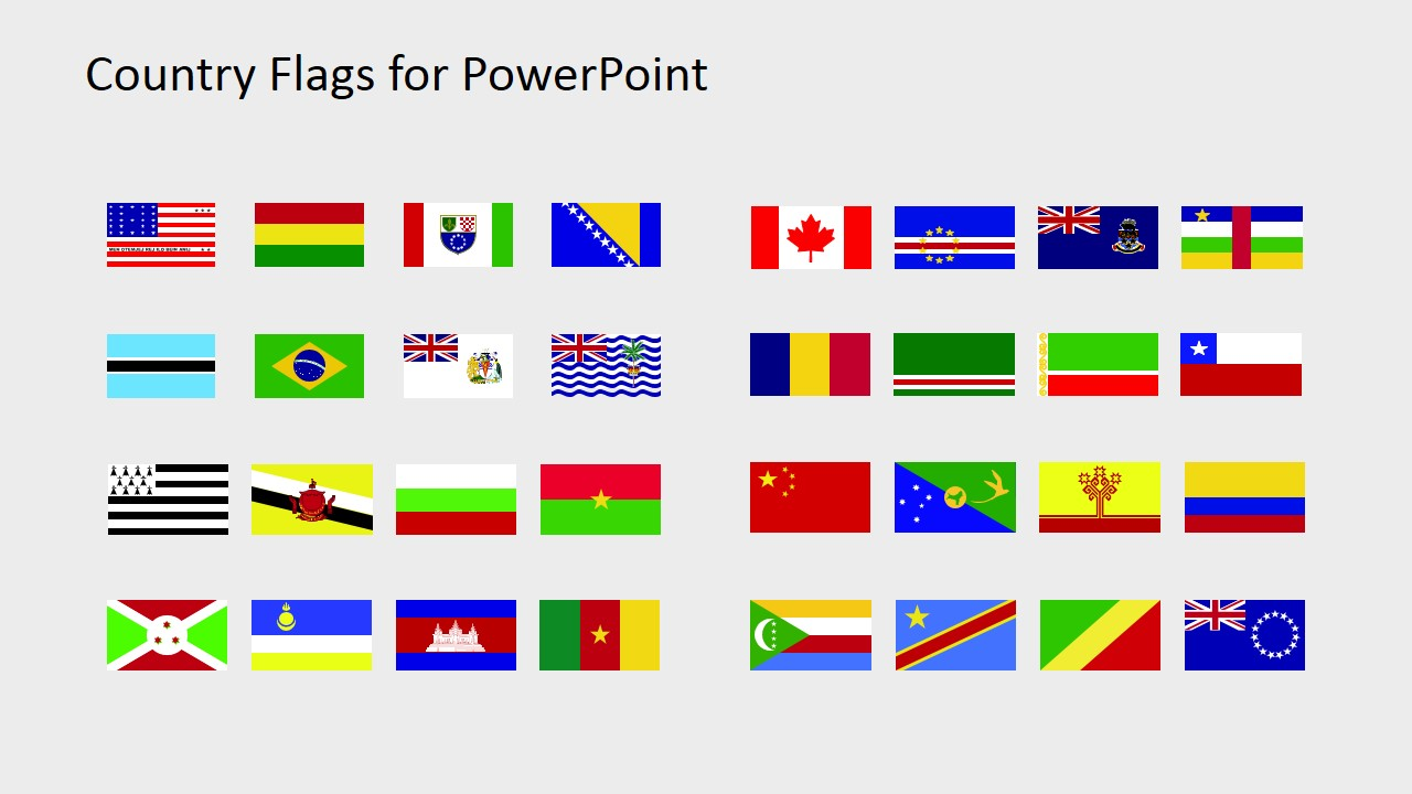 Country Flags Clipart for PowerPoint (B to C).