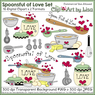 Kitchen Cooking Baking and Food Clipart Sets.