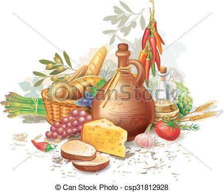 Vector Illustration of Still life with country food csp31812928.