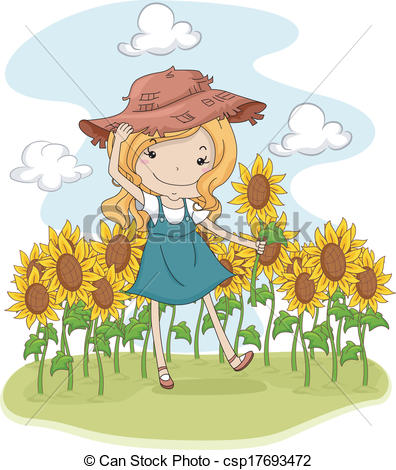 Country Sunflower Clip Art.