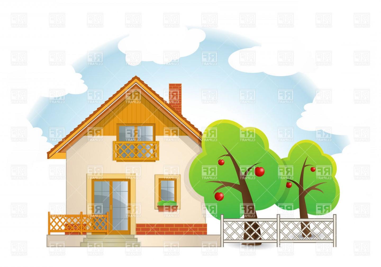 Country House With Garden Vector Clipart.