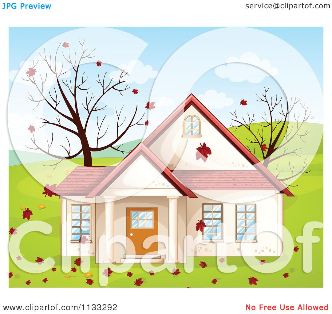 Cartoon Of An Autumn Country House.