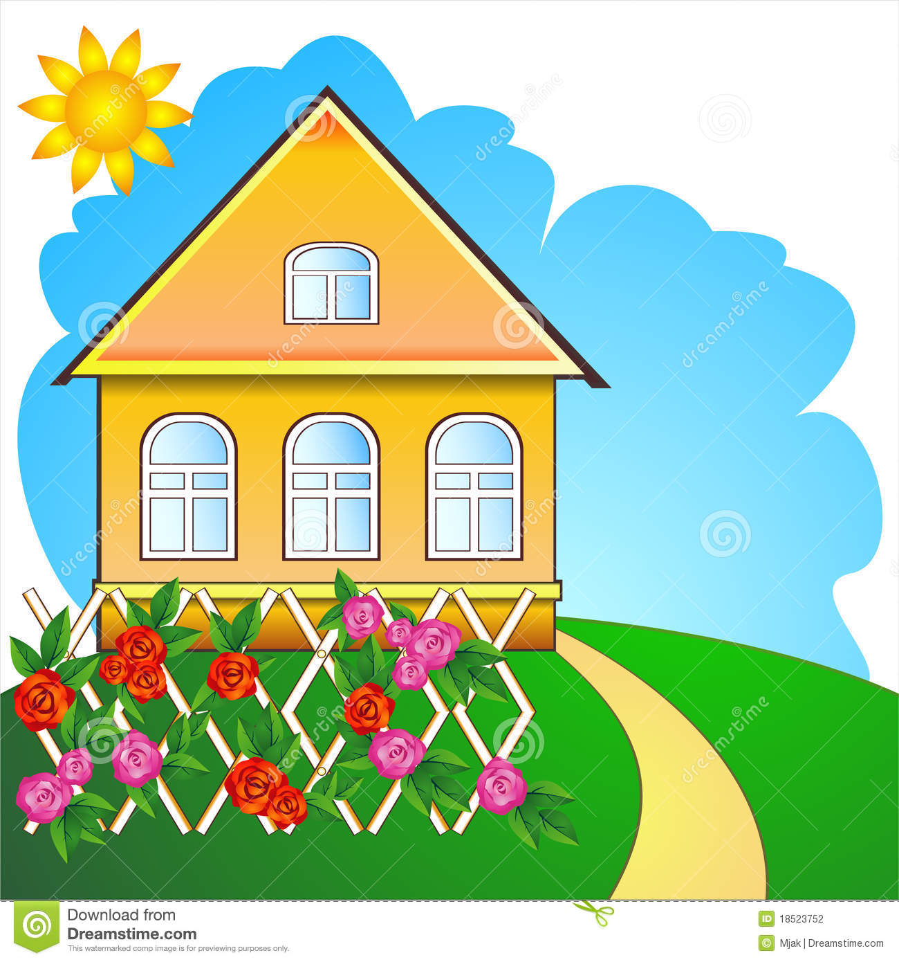 Cute Cartoon Country House Stock Illustrations.