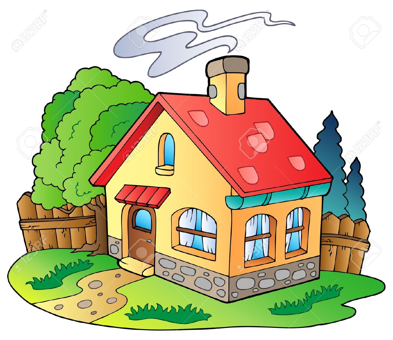 Small Family House Royalty Free Cliparts, Vectors, And Stock.