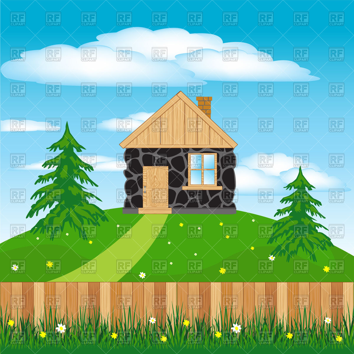 Log cabin and wooden fence.