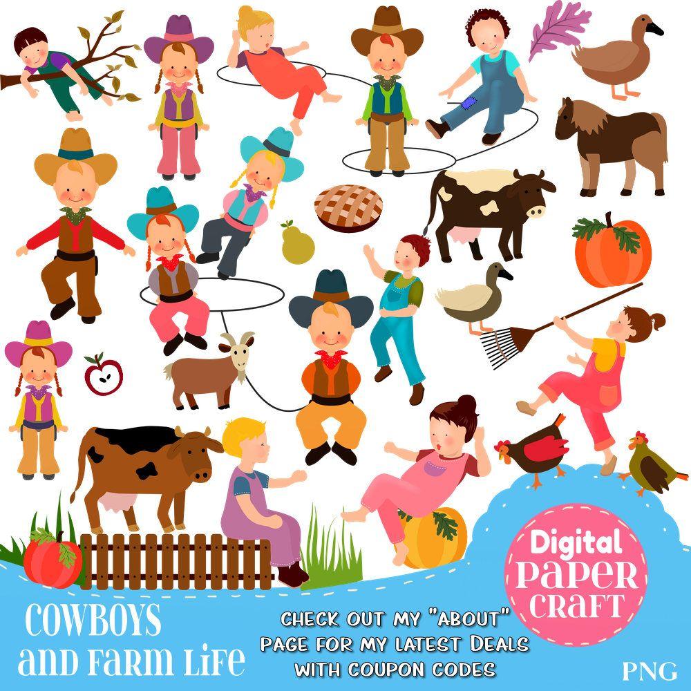 Farm Clipart, Children Clipart, Kids Clipart, Cowboy clipart.