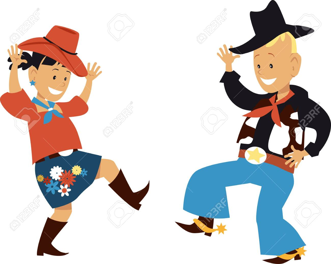 Two cute cartoon kids dancing western country style, vector illustration.