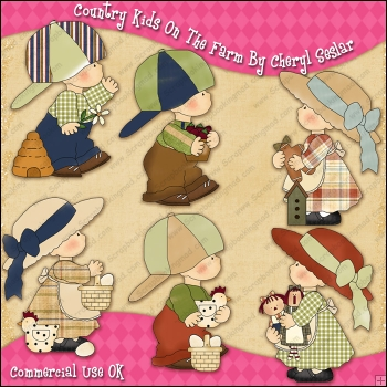 Country Kids On The Farm ClipArt Graphic Collection.