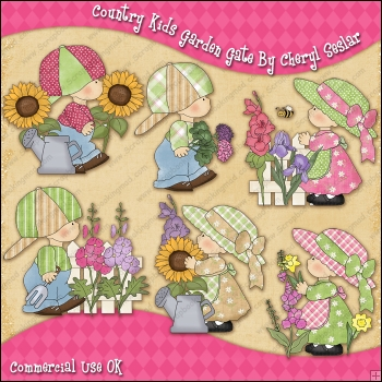 Country Kids Garden Gate ClipArt Graphic Collection.