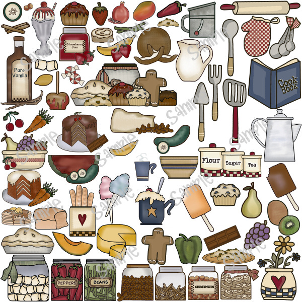 Country Kitchen Utensil Clipart.