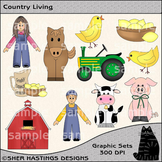 Country living clipart.