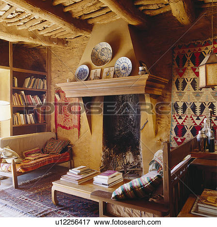 Picture of Fireplace in rustic Spanish country living room.
