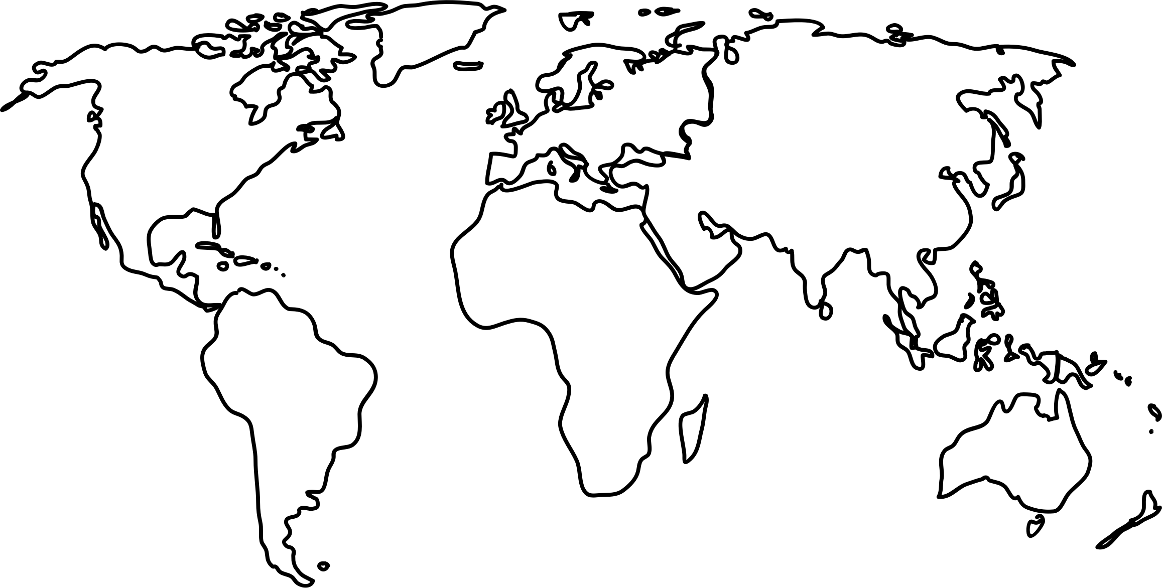 Country Map Clipart Black And White Clipground - World map outline with countries