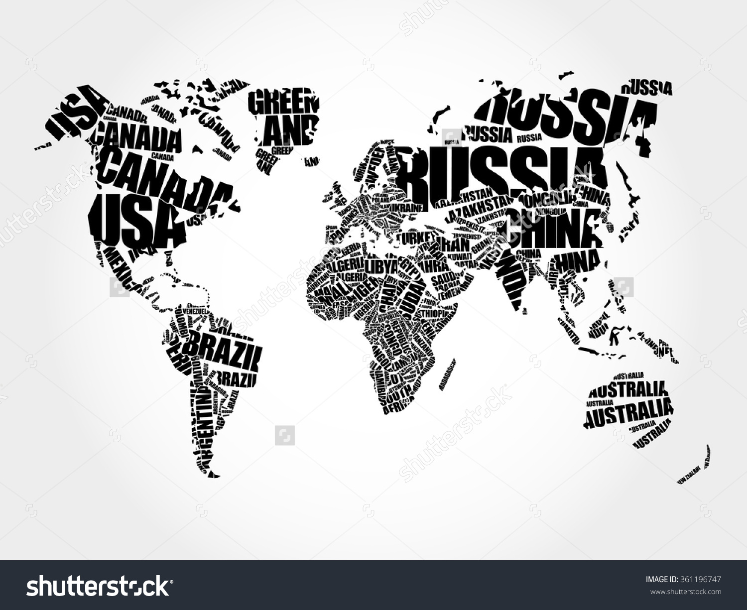 And Continents World Picture Of Real Black Map Detail Stock Photo.