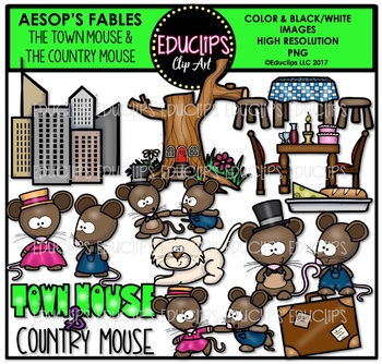 The Town Mouse And The Country Mouse Clip Art Bundle {Educlips Clipart}.