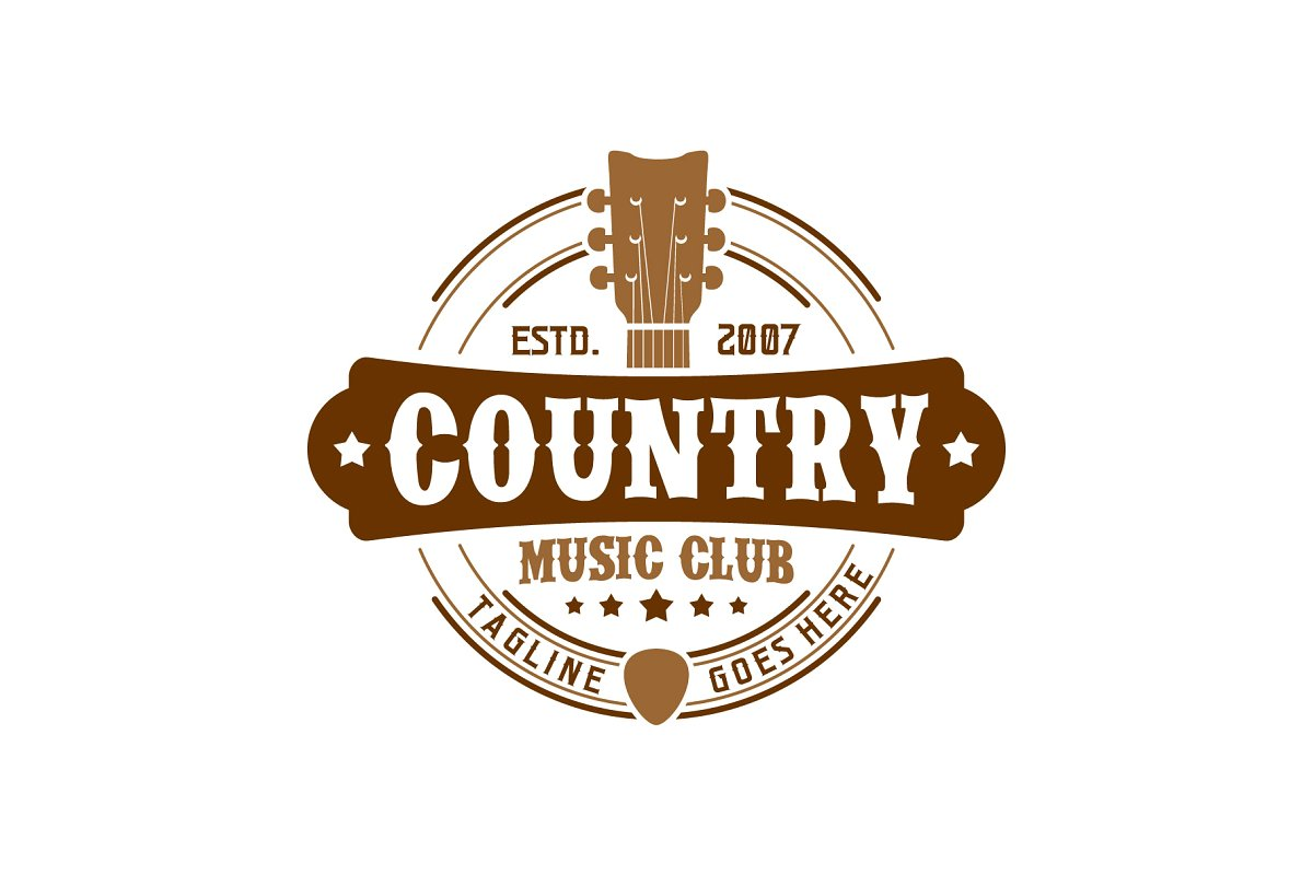 Country Music Club Typography Logo.
