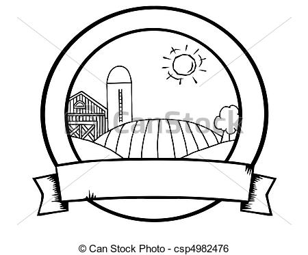 Clip Art Vector of Outline Country Farm Banner.