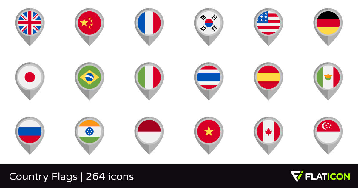 Country Flags +260 free icons (SVG, EPS, PSD, PNG files).